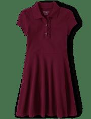 Girls Uniform Ruffle Pique Polo Dress