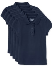 Girls Uniform Ruffle Pique Polo 5-Pack