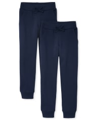 Girls Uniform Active Fleece Jogger Pants 2-Pack