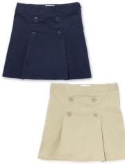 Girls Uniform Button Skort 2-Pack