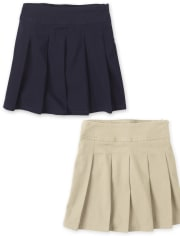 Girls Uniform Pleated Skort 2-Pack