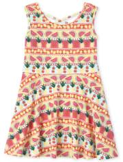 Baby And Toddler Girls Pineapple Cross Back Dress
