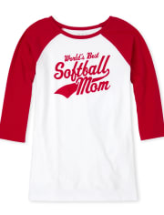 Womens Matching Family Softball Graphic Tee