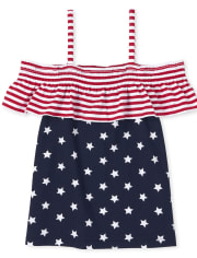 Girls Americana Mix And Match Star Off Shoulder Top