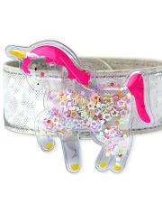 Girls Holographic Confetti Shaker Unicorn Slap Bracelet