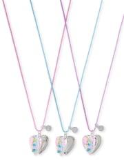 Collar con medallón BFF de unicornio con purpurina para niñas, paquete de 3
