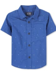 Baby And Toddler Boys Dot Poplin Button Down Shirt
