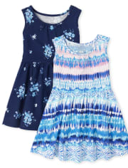 Baby And Toddler Girls Print Tank Dress 2-Pack