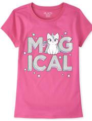 Girls Glitter Magical Caticorn Graphic Tee