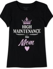 Camiseta estampada Glitter de alto mantenimiento para niñas como mamá