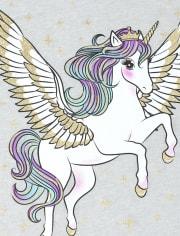 Girls Glitter Pegasus Graphic Tee