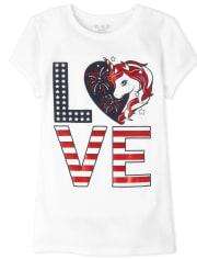 Girls Americana Love Unicorn Graphic Tee