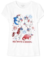 Girls Americana Dino Graphic Tee