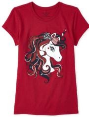 Girls Americana Unicorn Graphic Tee