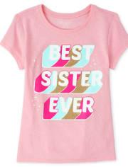 Girls Glitter Best Sister Graphic Tee