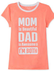 Girls Foil Mom And Dad Graphic Tee