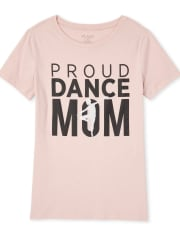 Womens Mommy And Me Glitter Dance Mom Matching Graphic Tee