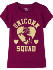 Girls Glitter Unicorn Squad Graphic Tee