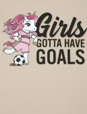 Girls Glitter Soccer Unicorn Graphic Tee