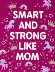 Camiseta estampada Smart Glitter Smart Like Mom para niñas