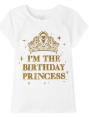 Girls Mommy And Me Foil Birthday Princess Matching Graphic Tee