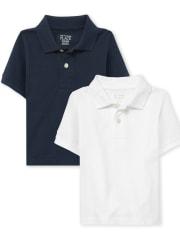 Toddler Boys Uniform Pique Polo 2-Pack