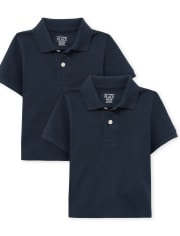 Baby And Toddler Boys Uniform Pique Polo 2-Pack