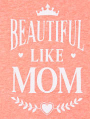 Camiseta estampada con purpurina Beautiful Like Mom para bebés y niñas pequeñas