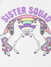 Baby And Toddler Girls Sister Squad Unicorn Graphic Tee