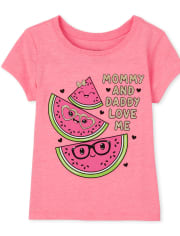 Baby And Toddler Girls Glitter Mommy And Daddy Watermelon Graphic Tee