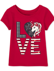 Baby And Toddler Girls Americana Foil Love Unicorn Graphic Tee