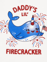Baby And Toddler Girls Americana Glitter Daddy Narwhal Graphic Tee