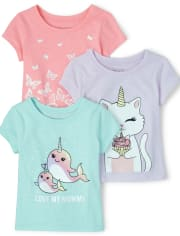 Baby And Toddler Girls Mommy Animal Graphic Tee 3-Pack