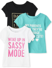 Baby And Toddler Girls Glitter Family Graphic Tee 3-Pack