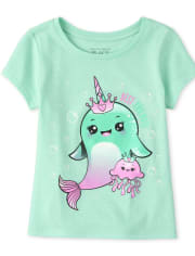 Baby And Toddler Girls Glitter Narwhal Graphic Tee