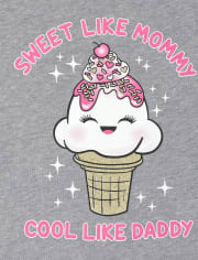 Baby And Toddler Girls Mommy And Daddy Ice Cream Graphic Tee