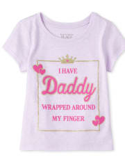 Baby And Toddler Girls Glitter Daddy Graphic Tee