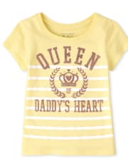 Baby And Toddler Girls Glitter Queen Of Daddy's Heart Graphic Tee