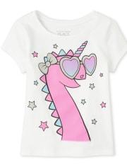 Baby And Toddler Girls Glitter Dinocorn Graphic Tee