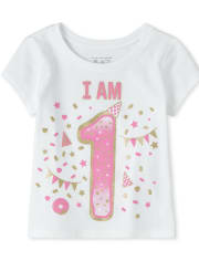 Baby And Toddler Girls Birthday Glitter I Am 1 Graphic Tee