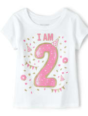 Baby And Toddler Girls Birthday Glitter I Am 2 Graphic Tee