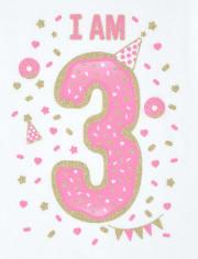 Baby And Toddler Girls Birthday Glitter I Am 3 Graphic Tee