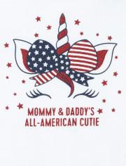 Baby Girls Americana Glitter Mommy And Daddy Unicorn Graphic Bodysuit
