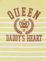 Baby Girls Glitter Queen Of Daddy's Heart Graphic Bodysuit