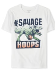 Boys Basketball Dino Graphic Tee