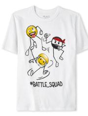 Boys Battle Squad Ninja Emoji Graphic Tee