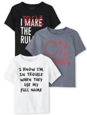 Baby And Toddler Boys Rules Graphic Tee 3-Pack