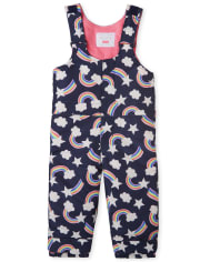 Toddler Girls Print Snow Overalls