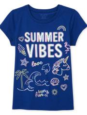 Girls Glitter Summer Vibes Graphic Tee