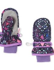 Toddler Girls Floral Ski Mittens